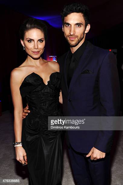 Model Nina Senicar and Dominic Adam attend the 22nd Annual Elton John AIDS Foundation Academy Awards Viewing Party at The City of West Hollywood Park...
