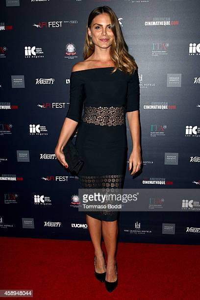 Model Nina Senicar attends the American Cinematheque Film Series Cinema Italian Style opening night gala held at the Egyptian Theatre on November 13...