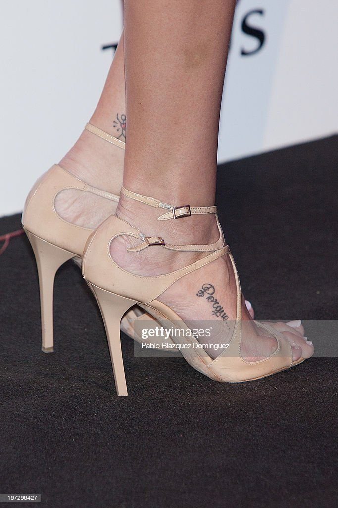 Model Noelia Lopez (shoe and tattoo detail) attend the presentation of the new fragrance 'Rosa' at Ritz Hotel on April 23, 2013 in Madrid, Spain.