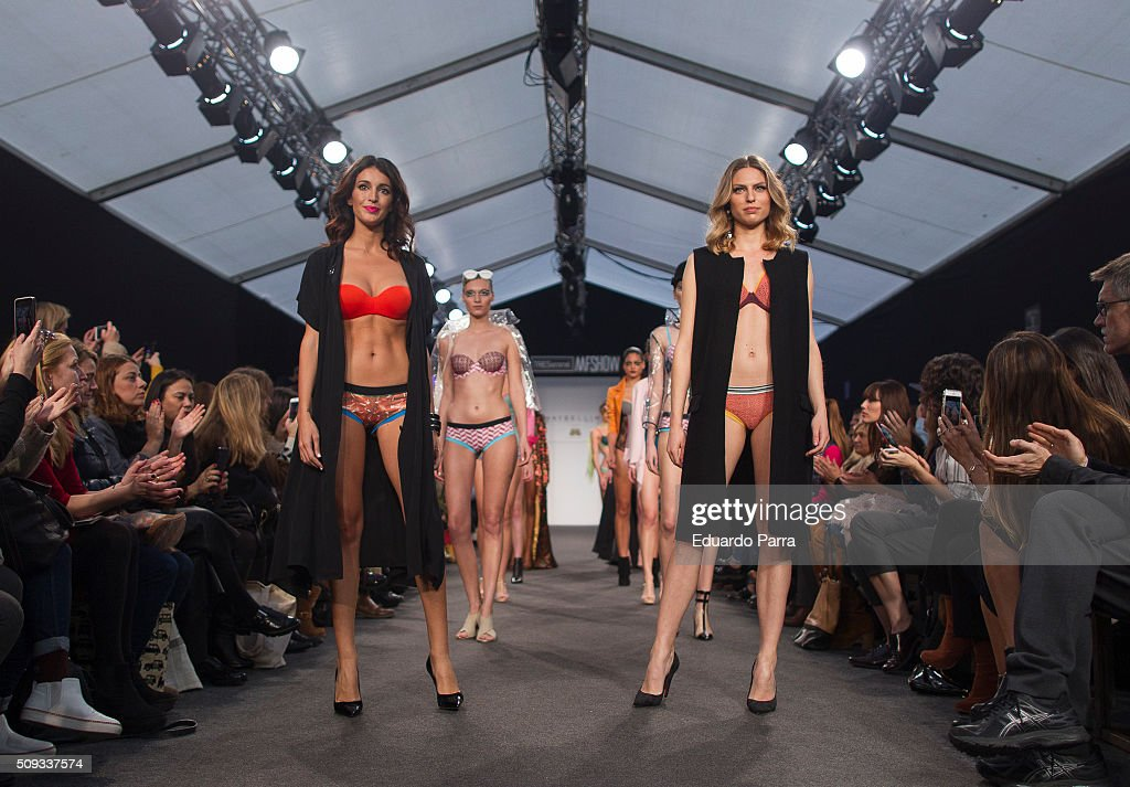 Model <a gi-track='captionPersonalityLinkClicked' href=/galleries/search?phrase=Noelia+Lopez&family=editorial&specificpeople=2416580 ng-click='$event.stopPropagation()'>Noelia Lopez</a> (L)l showcases designs by BLOOMERS&BIKINI at the MFSHOW on February 10, 2016 in Madrid, Spain.