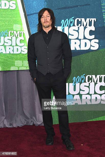 Model Norman Reedus attends the 2015 CMT Music awards at the Bridgestone Arena on June 10 2015 in Nashville Tennessee