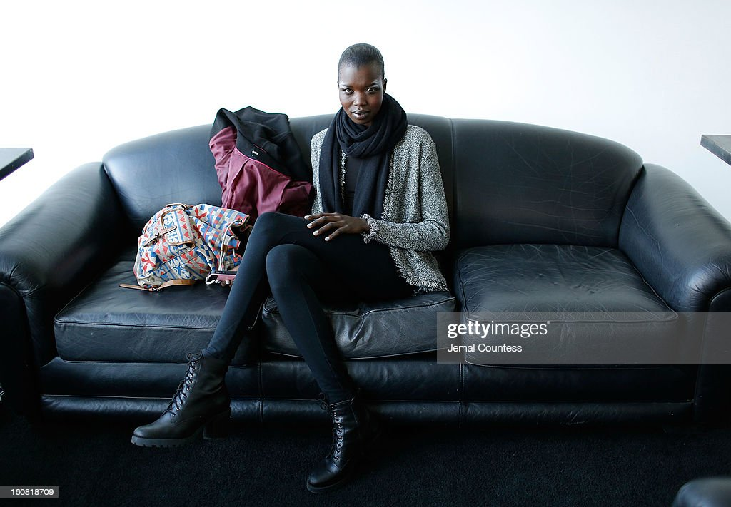Model Nykhor backstage prior to the Creatures Of Comfort Fall 2013 presentation during Mercedes-Benz Fashion Week at Pier 59 on February 6, 2013 in New York City.