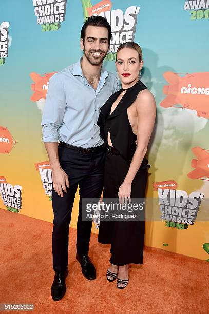 Model Nyle DiMarco and dancer Peta Murgatroyd attend Nickelodeon's 2016 Kids' Choice Awards at The Forum on March 12 2016 in Inglewood California