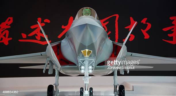 A model of a Chinese J31 stealth fighter of AVIC is pictured at the Airshow China 2014 in Zhuhai south China's Guangdong province on November 12 2014...