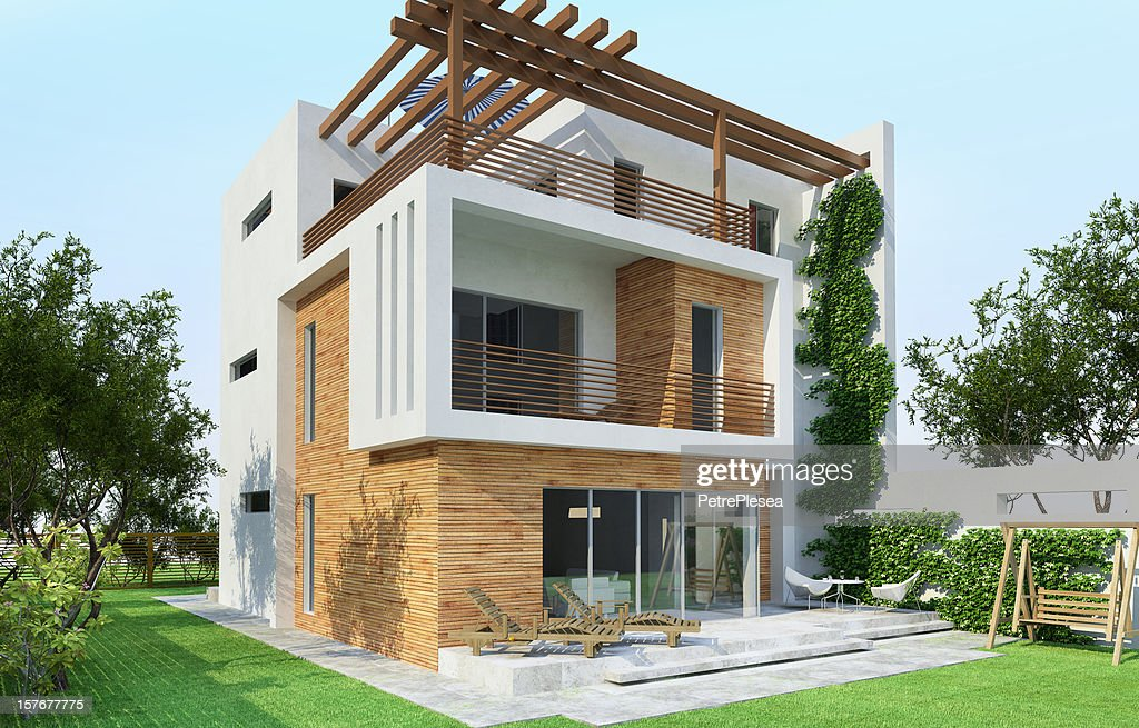 3D Model of a modern house : Stock Photo
