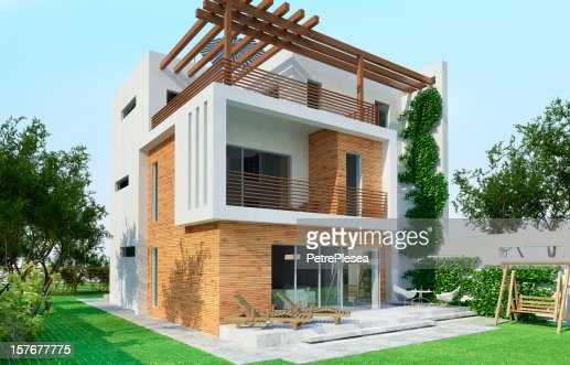 3D Model of a modern house : Stockfoto