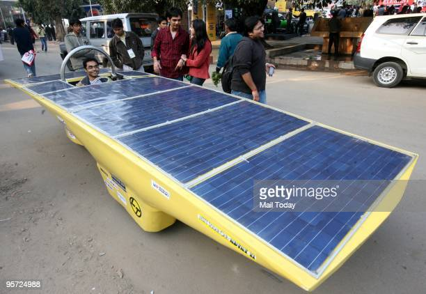 A model of Advay II a solar car designed by students of Netaji Subhas Institute of Technology at the 10th Auto Expo at Pragati Maidan in New Delhi on...