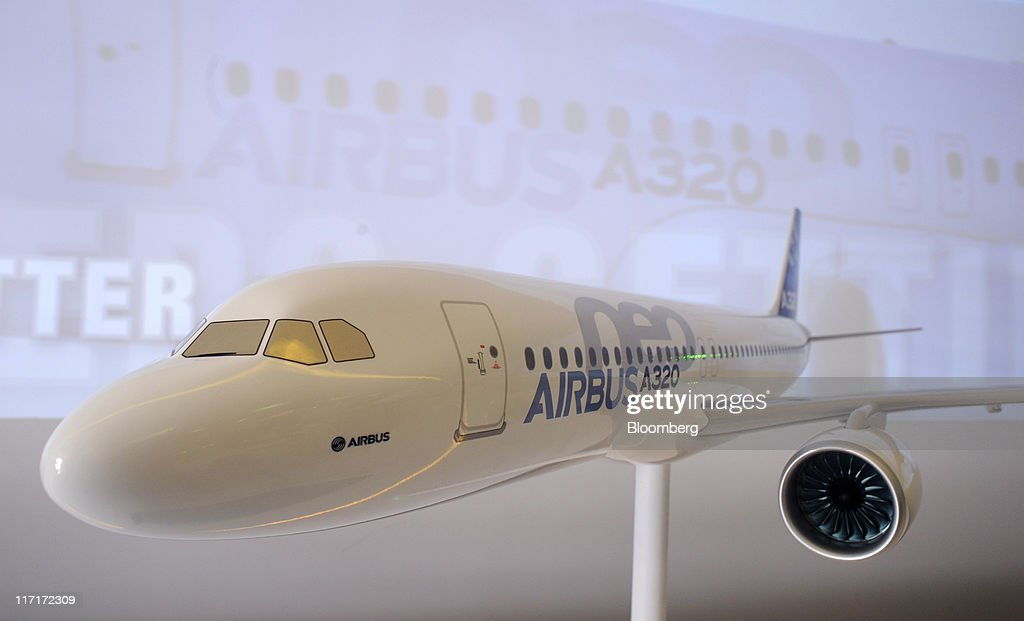 A model of an Airbus A320 aircraft stands on display at the Paris Air Show in Paris, France, on Thursday, June 23, 2011. The 49th International Paris Air Show, the world's largest aviation and space industry show, takes place at Le Bourget airport June 20-26. Photographer: Fabrice Dimier/Bloomberg via Getty Images