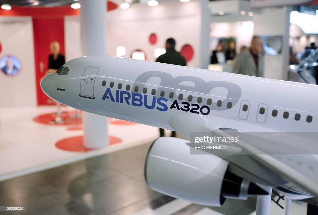 A model of an Airbus A320 is on display at the stand of Airbus Group during the Actionaria shareholders fair in Paris on November 21 2014 AFP PHOTO...
