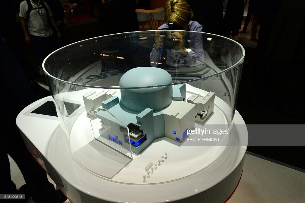 A model of an European Pressurised Reactor project (EPR) is presented at the stand of French nuclear giant Areva during the World Nuclear Exhibition in Le Bourget, near Paris, on June 28, 2016. / AFP / ERIC