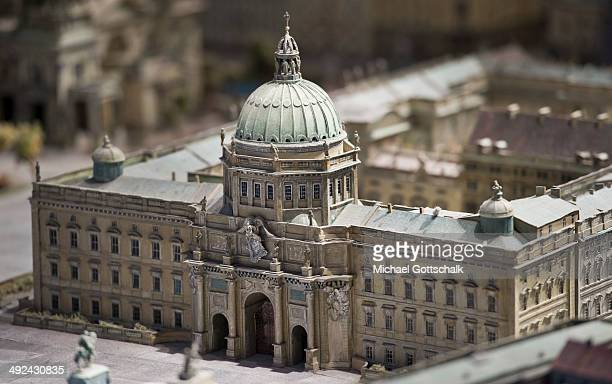 A model of Berlin Palace is displayed in the HumboldtBox on May 20 2014 in Berlin Germany The palace has been undergoing reconstruction since last...