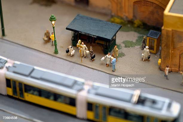 Model of commuters waiting at tram stop