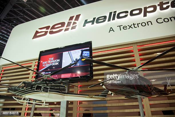 A model of Helicopters by Bell Helicopter is displayed at the Singapore Airshow on February 13 2014 in Singapore The Singapore air show is held every...