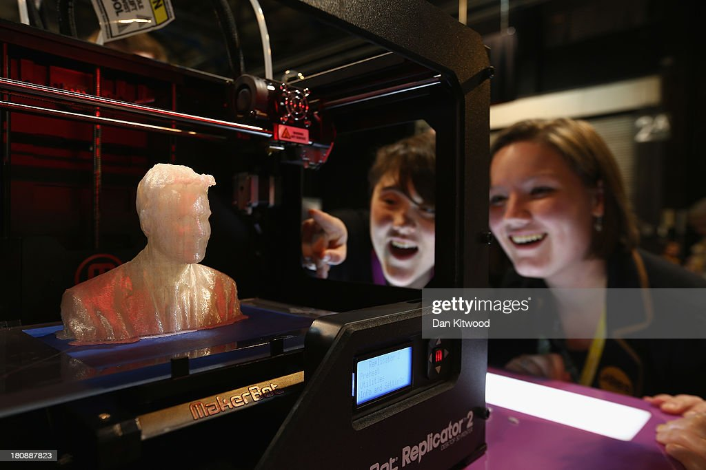 A 3D model of Leader of the Liberal Democrats, Nick Clegg is completed after 7 and a half hours of printing on a Microsoft stand at the SECC, Scottish Exhibition and Conference Centre on September 17, 2013 in Glasgow, Scotland. Today is day four of the Liberal Democrat Autumn conference.