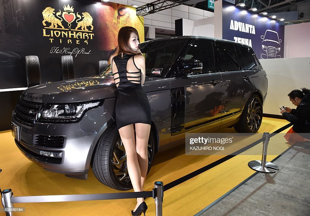 a model of lionhart tires poses at tokyo auto salon 2016 at makuhari pictures getty images. Black Bedroom Furniture Sets. Home Design Ideas
