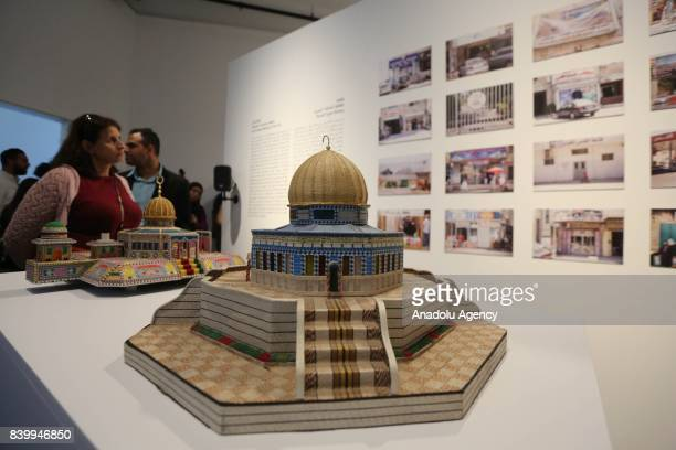 A model of Masjid alAqsa is seen during 'Jerusalem Lives' Fair to present IslamicArabic identity at international arena in Birzeit town of Ramallah...