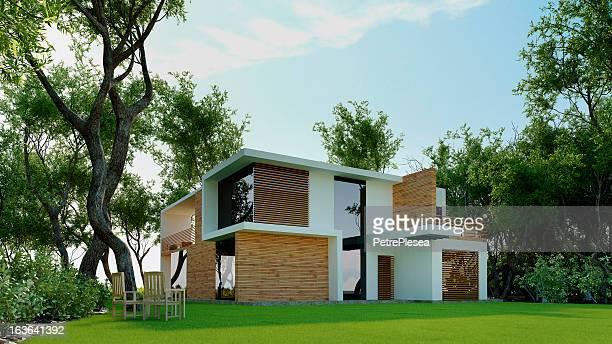 Modèle 3D de la maison moderne dans la forêt. Architecture abstraite.