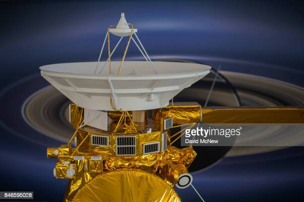 A model of NASA's Cassini spacecraft is seen at Jet Propulsion Laboratory as Cassini nears the end of its 20year mission by crashing into Saturn on...