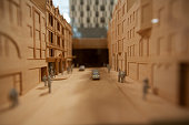 Model of street scape with cars and people