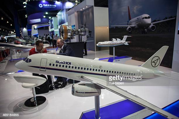 A model of Sukhoi Superjet 100 of Sukhoi Russia aircraft is displayed at the Singapore Airshow on February 13 2014 in Singapore The Singapore air...