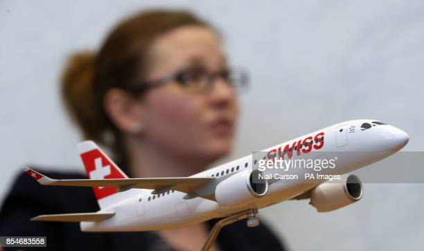 A model of the Bombardier C series jet in front of Haley Dunne Director of Communications and Public Affairs as she speaks to the Press Association...