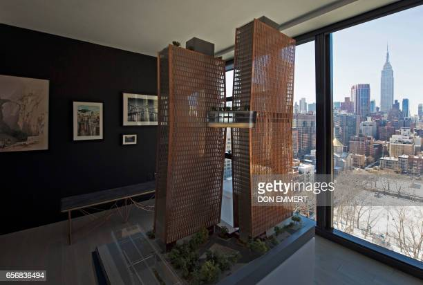 A model of the building stands in a room inside the American Copper Building at 626 First Avenue on March 17 2017 in New York The building is a...