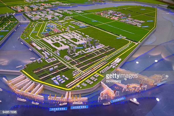 A model of the Caofeidian Industrial Zone stands in Tangshan Hebei province China on Tuesday May 27 2008 Ownership of the Caofeidian Industrial Zone...