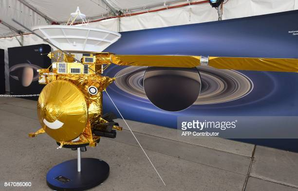A model of the Cassini spacecraft is seen at NASA's Jet Propulsion Laboratory September 13 2017 in Pasadena California Cassini's 20year mission to...