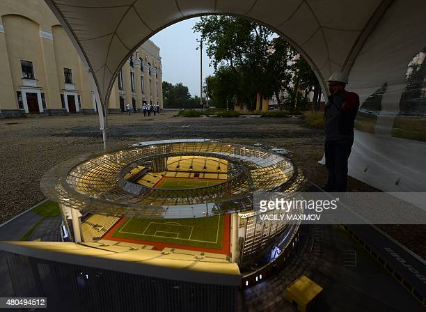 A model of the Central stadium in Yekaterinburg on July 12 2015 The venue will host matches during the 2018 FIFA World Cup AFP PHOTO / VASILY MAXIMOV