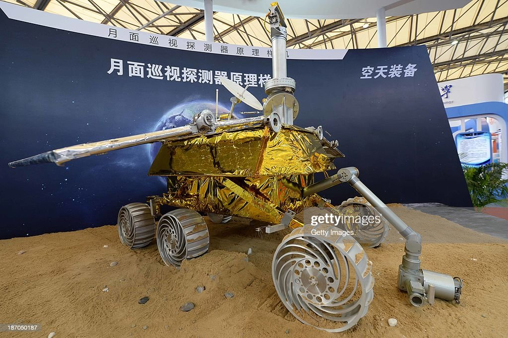A model of the Chang'e-3 lunar rover is on display during the China International Industry Fair 2013 at Shanghai New International Expo Centre on November 5, 2013 in Shanghai, China. China is set to launch the Chang'e 3 moon probe with a Shanghai-made lunar rover at the end of the year.