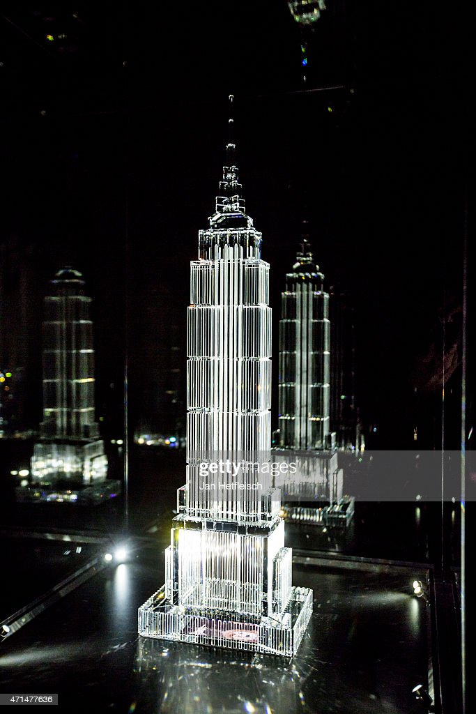 A model of the empire state building made of glas is seen at the Swarovski Crystal Worlds inside the 'Giant' during the grand reopening on April 28...