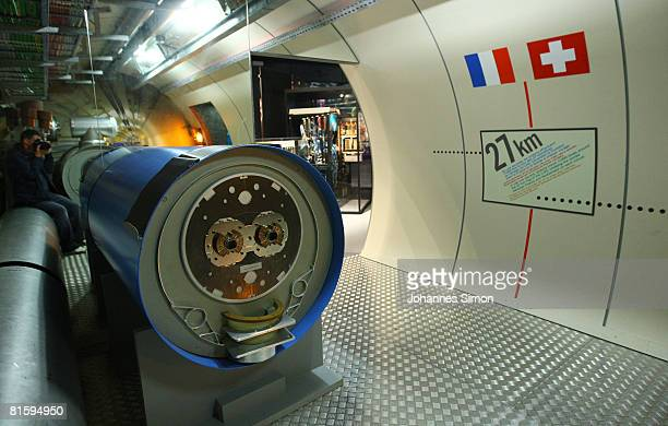 A model of the Large Hadron Collider tunnel is seen in the CERN visitors' center June 16 2008 in GenevaMeyrin Switzerland CERN is building the...