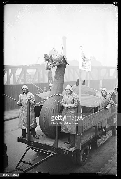 Model of the Loch Ness Monster 1933 A photograph of a Loch Ness Monster model being taken by trailer to Bertram Mills Circus taken by James Jarche...