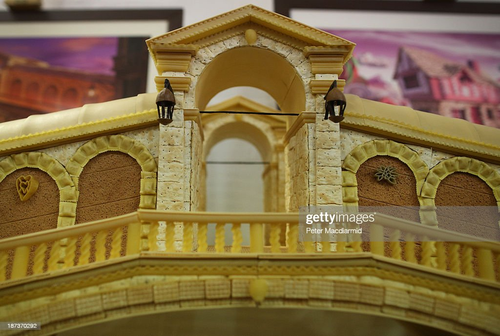 A model of the Rialto Bridge made from Italian pasta, biscuits and crackers is shown at the Experimental Food Society Exhibition on November 8, 2013 in London, England. A collective of food magicians, sonic food artists, cake sculptors, gastronomic tailors, culinary cabaret troupes and a dining conceptualist have gathered together for a two day exhibition featuring their unique edible creations.