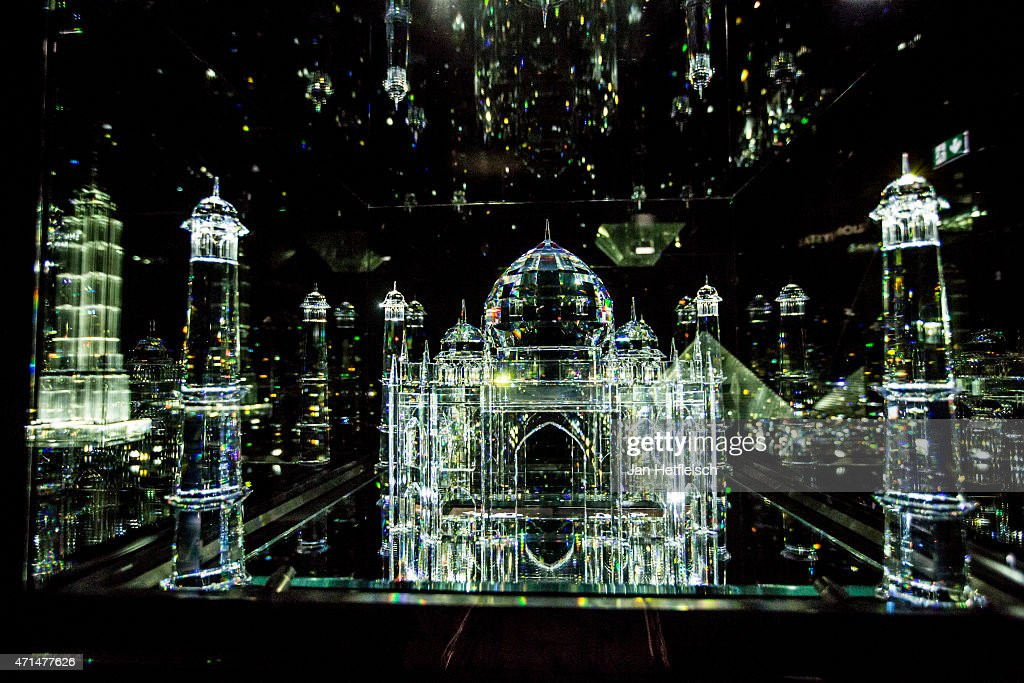 A model of the Taj Mahal made of glas is seen at the Swarovski Crystal Worlds inside the 'Giant' during the grand reopening on April 28 2015 in...
