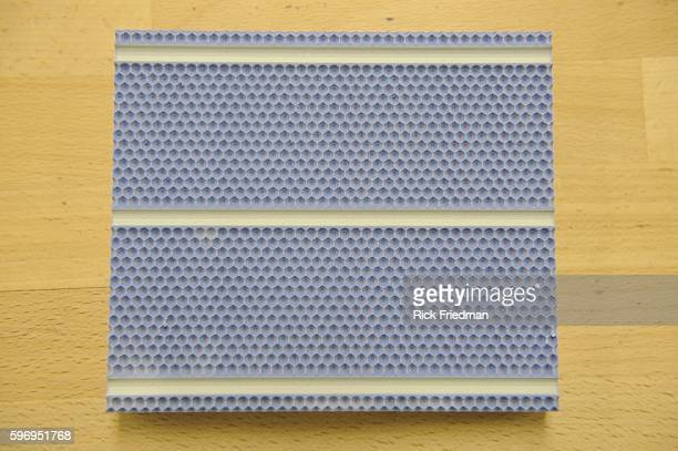 A 3D model of the texture of 1366 Technologies silicon solar cells on February 1 2011 1366 Technologies manufacturers silicon solar cells with a...