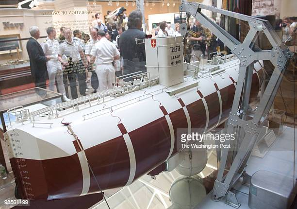 A model of the Trieste is seen at the event The Navy honors historymaking undersea adventurer and scientist Dr Don Walsh CAPT USN at a 50th...