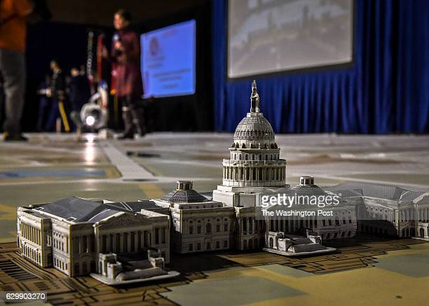 A model of the US Capitol located on a huge map of the city during a Rehearsal of Concept Drill for the upcoming inauguration on December 2016 in...