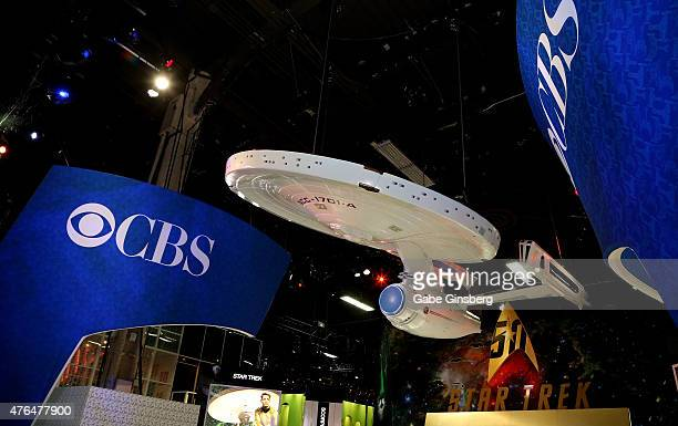 A model of the USS Enterprise from the 'Star Trek' movie franchise is displayed during the Licensing Expo 2015 at the Mandalay Bay Convention Center...