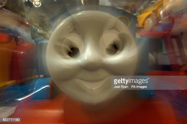 A model of Thomas the Tank Engine during Toy Fair at London's ExCel centre
