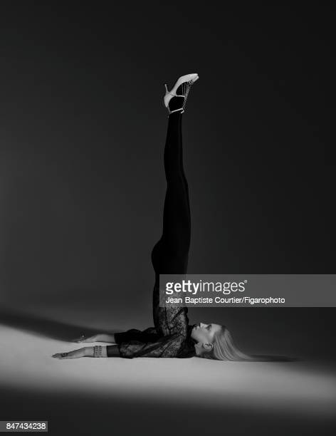 Model poses at a fashion shoot for Madame Figaro on July 12 2017 in Paris France Blouse and shoes tights jewelry from the joaillerie Atelier...