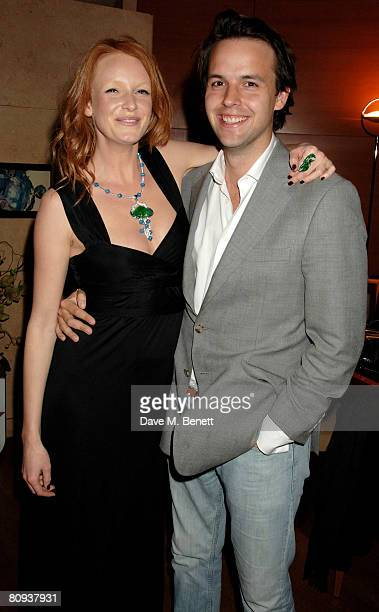 Model Olivia Inge and a guest attend the Avakian jade collection launch at Avakian on April 30 2008 in London England