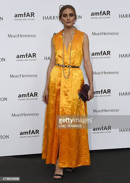 US model Olivia Palermo arrives for the Amfar dinner on the sidelines of the Paris fashion week on July 5 2015 in Paris AFP PHOTO / LOIC VENANCE