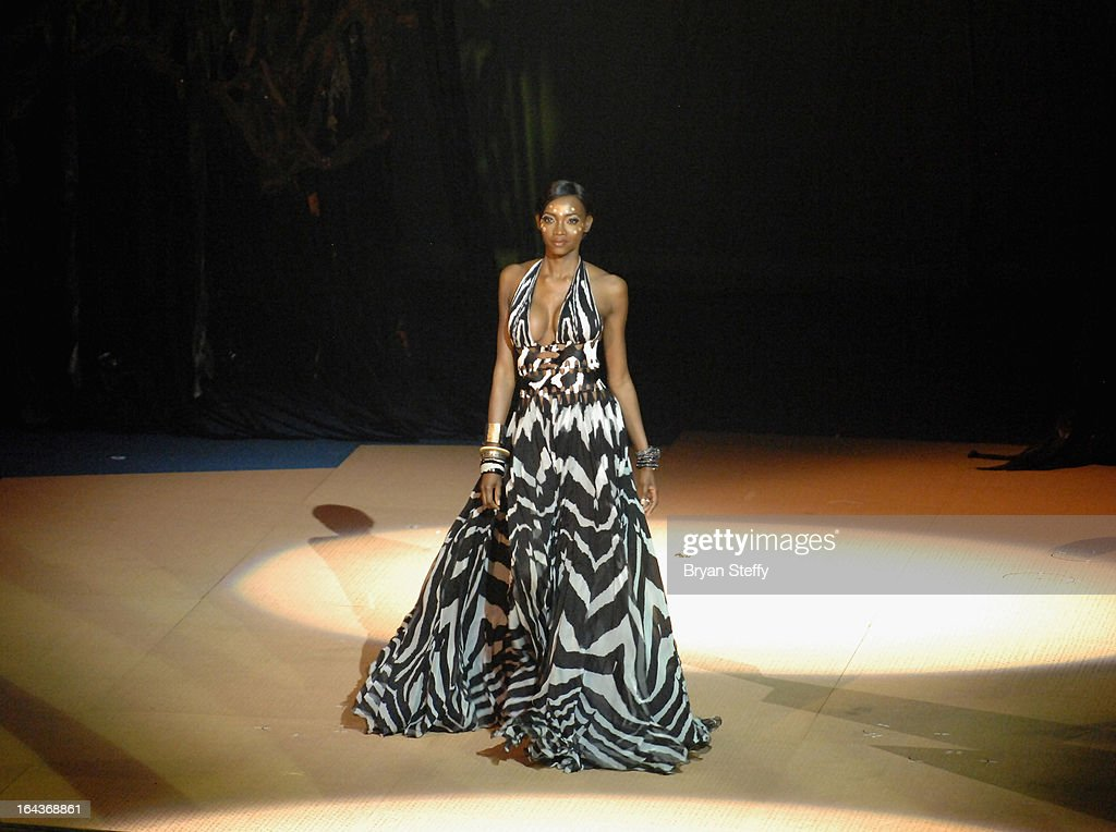 Model Oluchi Orlandi rehearses for Cirque du Soleil's 'One Night for ONE DROP' show at the Bellagio on March 22, 2013 in Las Vegas, Nevada.