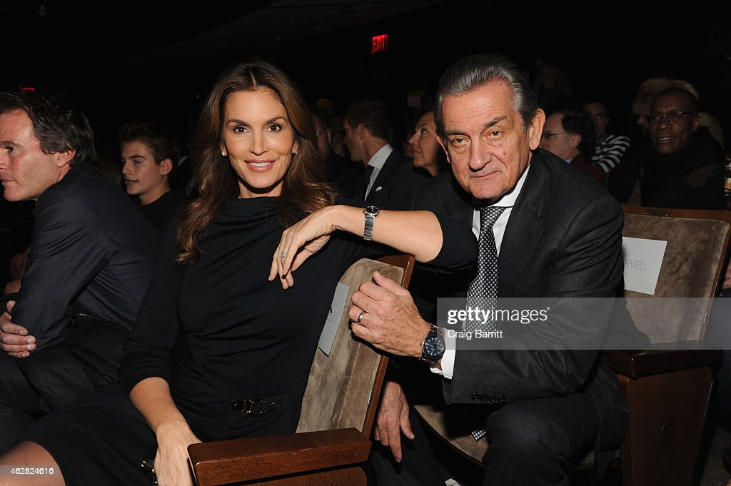 Model OMEGA Brand Ambassador Cindy Crawford and President of OMEGA Stephen Urquhart attend the screening of 'The Hospital In The Sky' presented by...