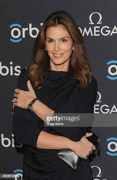 Model OMEGA Brand Ambassador Cindy Crawford attends the screening of 'The Hospital In The Sky' presented by OMEGA at New York Historical Society on...
