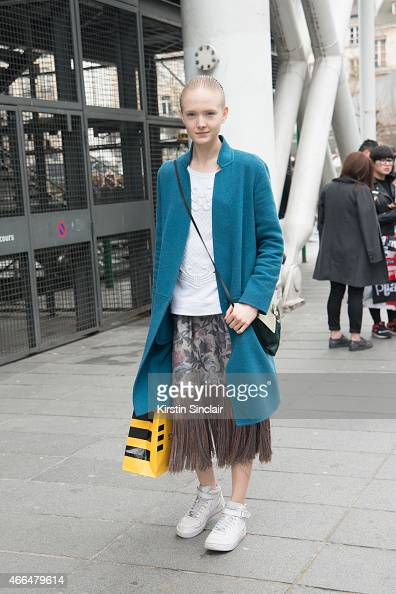 A model on day 7 of Paris Collections Women on March 09 2015 in Paris France