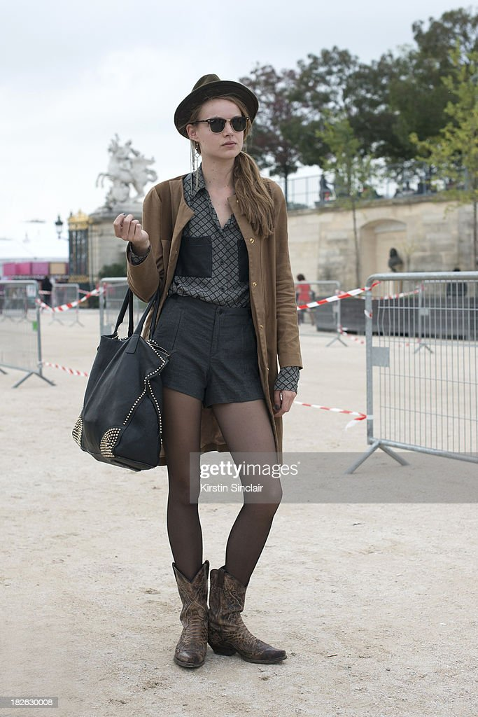 A model on day 7 of Paris Fashion Week Spring/Summer 2014, Paris September 30, 2013 in Paris, France.