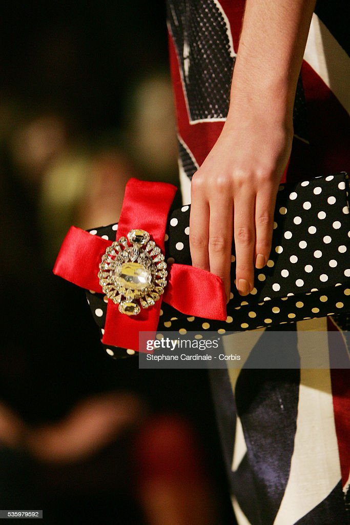 Model on the catwalk (purse detail) at the 'Christian Lacroix ready-to-wear Spring-Summer 2006 collection' fashion show.