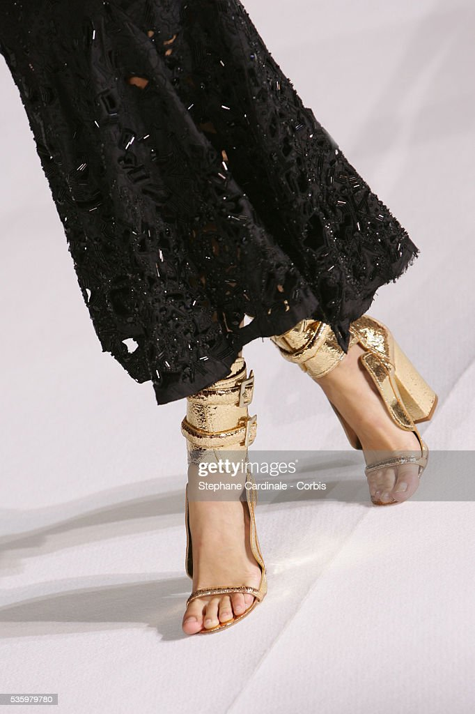 Model on the catwalk (shoe detail) at the 'Givenchy ready-to-wear Spring-Summer 2006 collection' fashion show.